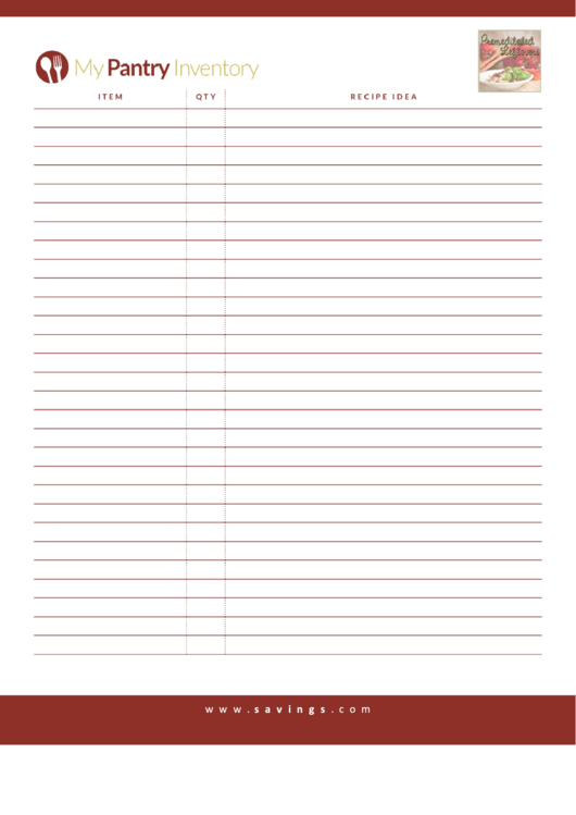 My Pantry Inventory Template Printable pdf