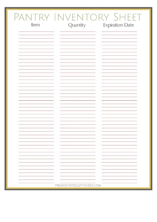Pantry Inventory Sheet Printable pdf