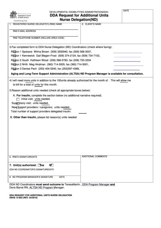 Dshs Forms Dda Request For Additional Units Nurse Delegation (nd)