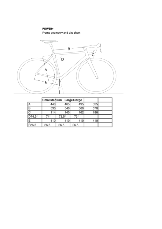 Bellati Sport Power+ Frame Geometry And Size Chart Printable pdf