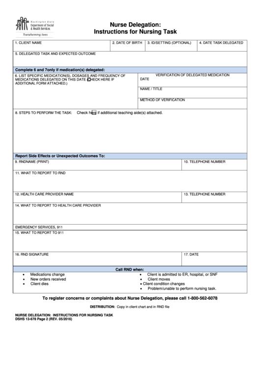Nurse Delegation: Instructions For Nursing Task
