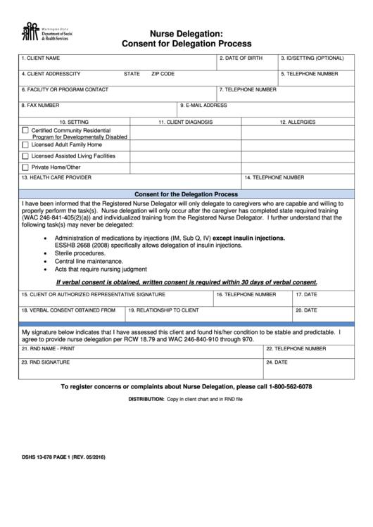 Nurse Delegation: Consent For Delegation Process
