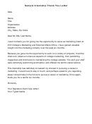 Sample Internship Thank You Letter Template