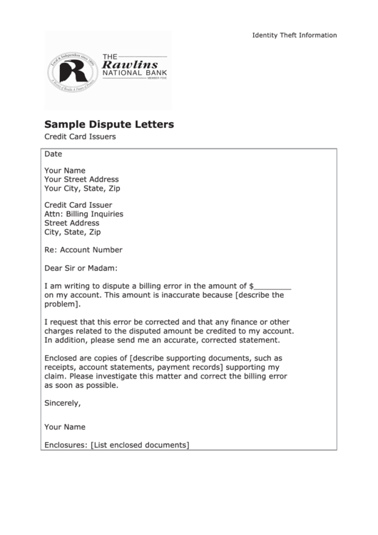 sample dispute letter template credit card issuers printable pdf download. Black Bedroom Furniture Sets. Home Design Ideas