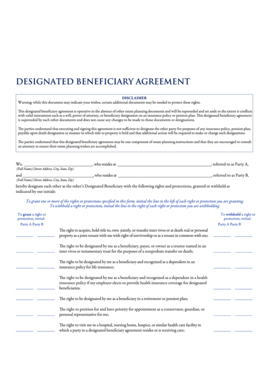 77 Beneficiary Form Templates free to download in PDF ...