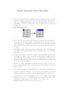 Parity Questions (first Meeting) Math Worksheet