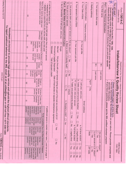 Intake Interview And Quality Review Sheet Form 13614 C Printable