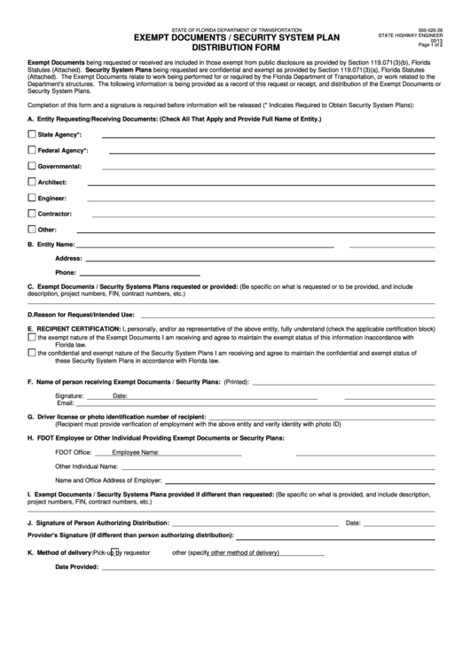 Exempt Documents / Security System Plan Distribution Form