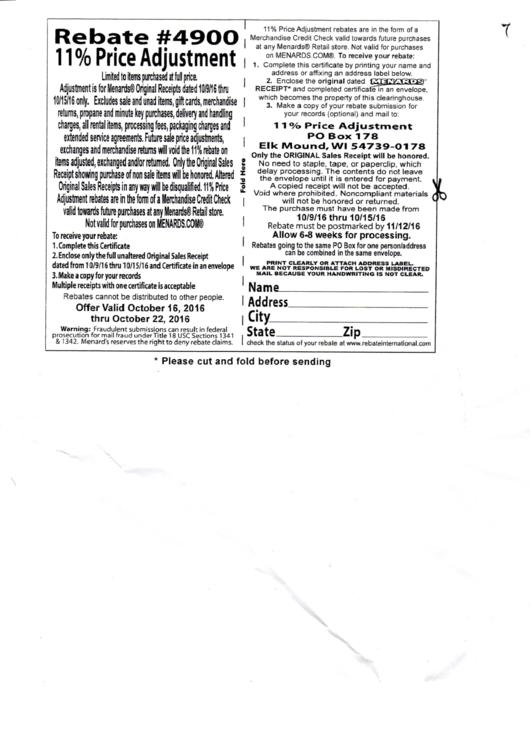 Menard'S Rebate #4900 - 11% Price Adjustment printable pdf