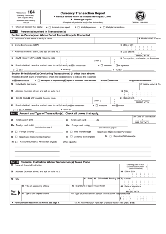 Fincen Form 104 - Currency Transaction Report printable pdf download