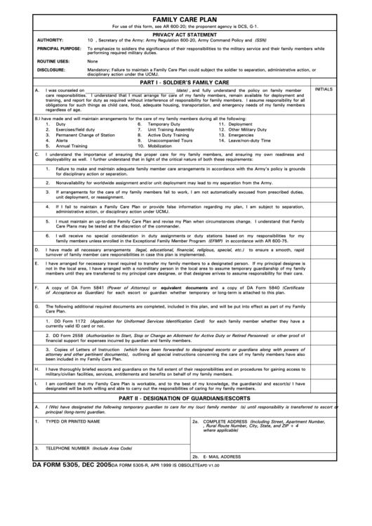 Da Form 5305 - Family Care Plan Printable pdf