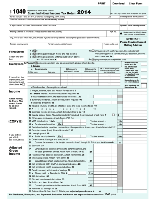 Fillable Form 1040 - Guam Individual Income Tax Return - 2014 Printable pdf