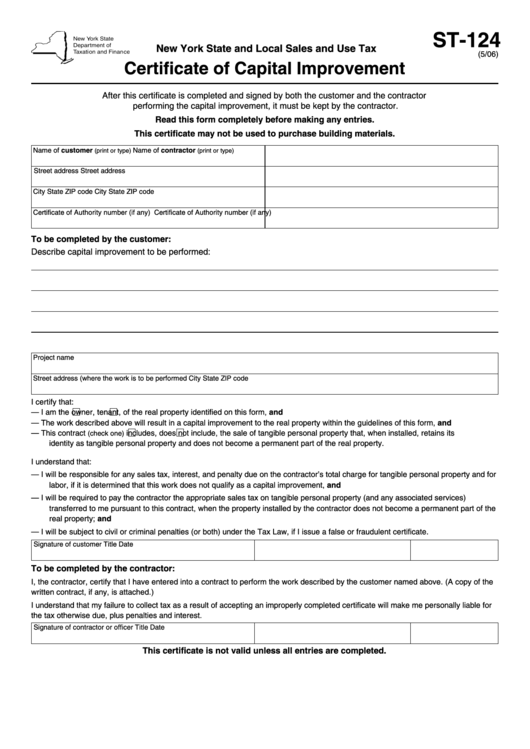 Form St-124: (5/06): Certificate Of Capital Improvement printable ...