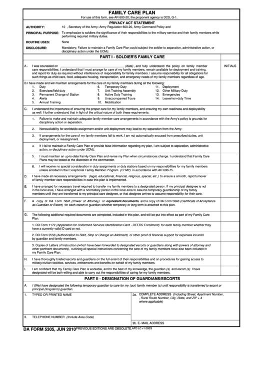 Fillable Da Form 5305 - Family Care Plan Printable pdf