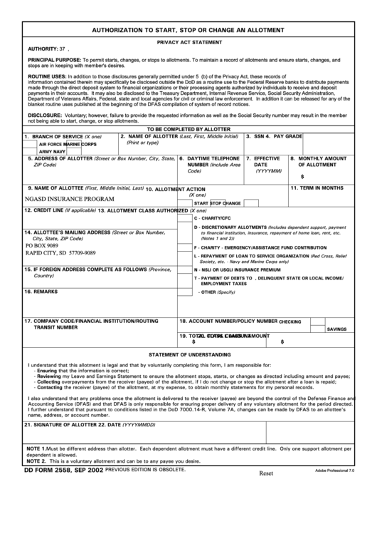 Dd Form 2558, Authorization To Start, Stop Or Change An Allotment