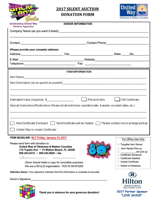 Silent Auction Item Donation Form