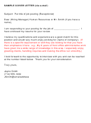 E-mail Sample Cover Letter