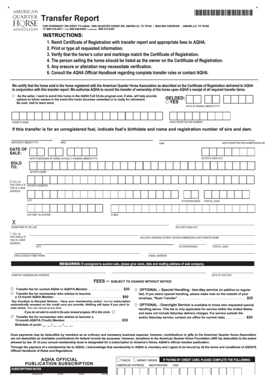 Top 10 Aqha Transfer Form Templates Free To Download In