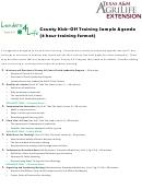 County Kick-off Training Sample Agenda