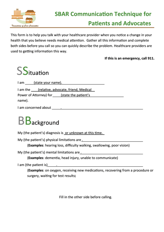 Sbar Communication Technique Worksheet For Patients And