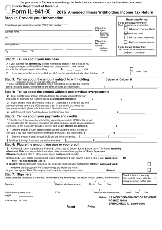 Form Il-941-x - Illinois Withholding Income Tax Return printable ...