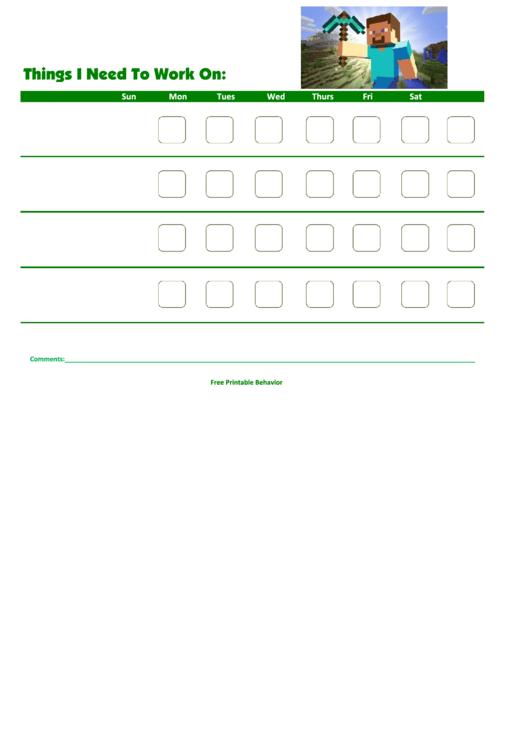 Things I Need To Work On: Printable pdf