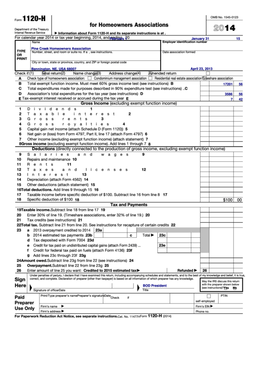 Fillable Form 1120-H - U. S. Income Tax Return For Homeowners Associations - 2014 Printable pdf