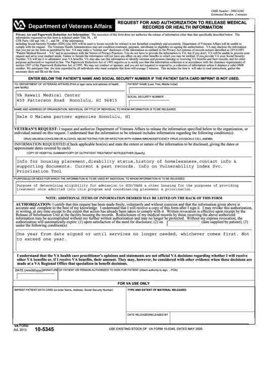 Veterans Affairs Request For And Authorization To Release Medical Records Or Health Information Va Form 105345 Eforms
