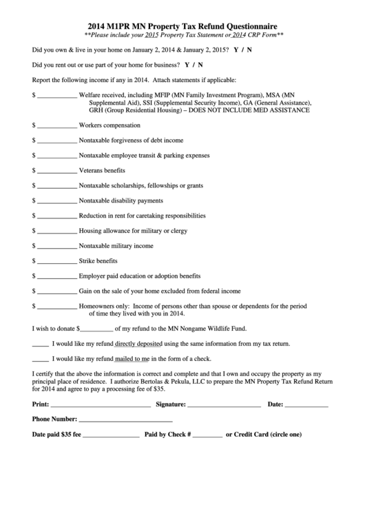 2014 M1pr Mn Property Tax Refund Questionnaire printable pdf download