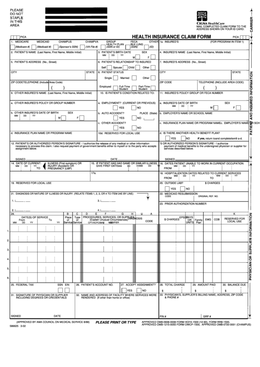 Fillable Health Insurance Claim Form printable pdf download
