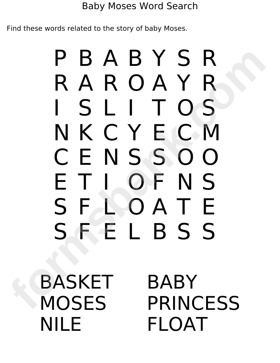 Baby Moses Word Search Puzzle Template printable pdf download