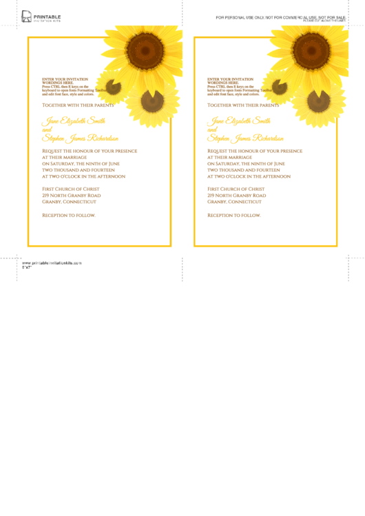 Invitation Card Template Printable pdf