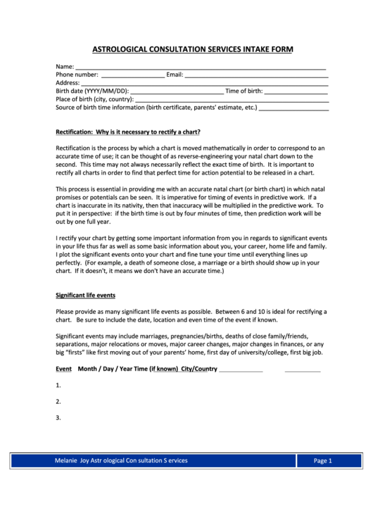 Astrological Counselling Intake Form printable pdf download