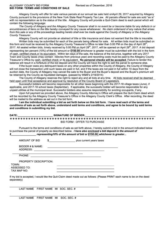 Allegany County Bid Form
