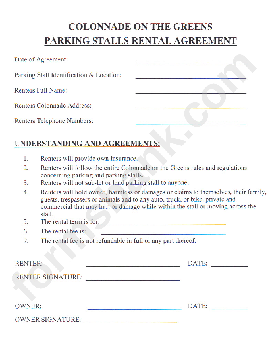 Parking Stall Rental Agreement Form Printable Pdf Download