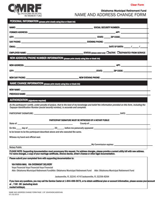 Fillable Name And Address Change Form - Omrf Printable pdf