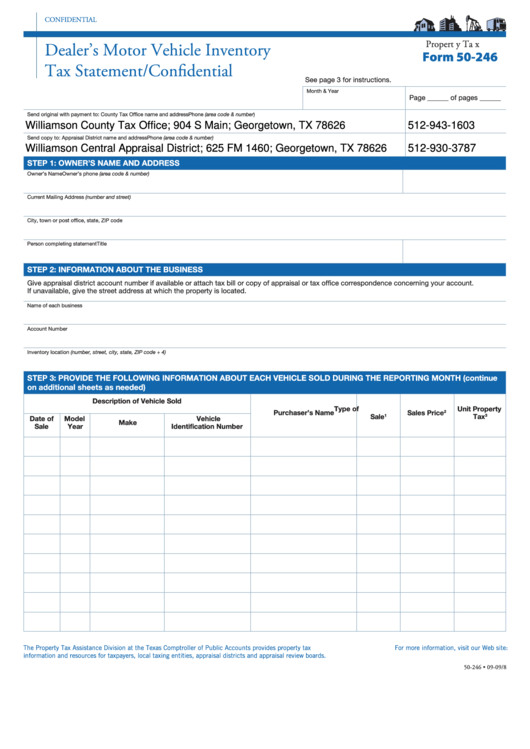 Form 50-246 - Dealer's Motor Vehicle Inventory Tax Statement ...