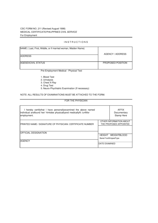 csc form 211 medical certificate for employment printable