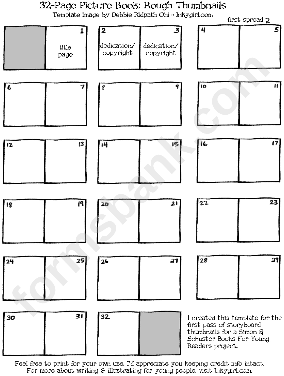 32 page picture book template