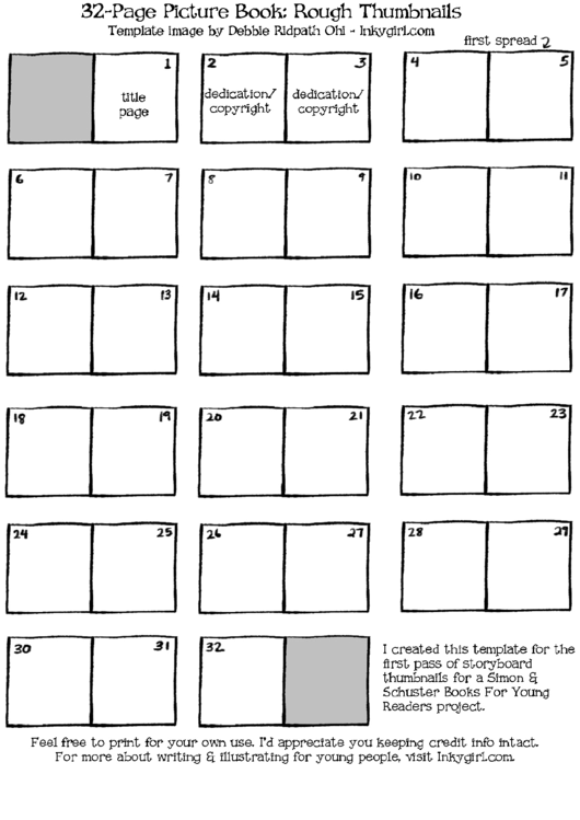 32 Page Picture Book Template - Rough Thumbnails