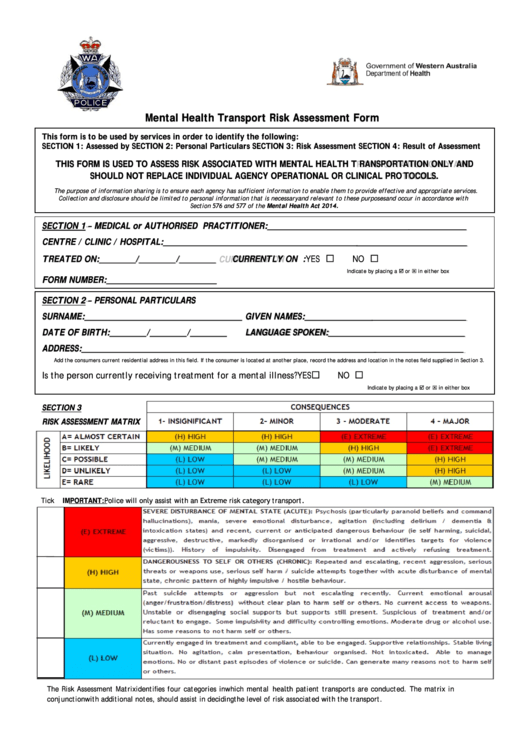 Top 14 mental health assessment form templates free to for Risk assessment template mental health