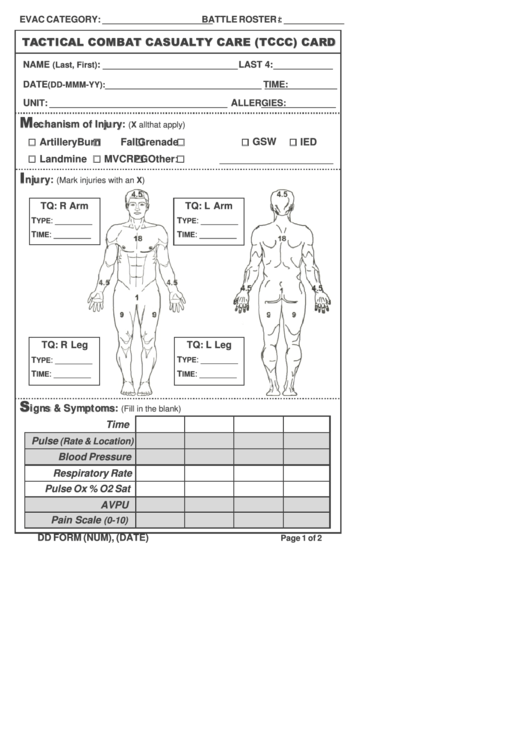 Tactical Combat Casualty Care (Tccc) Card Printable pdf