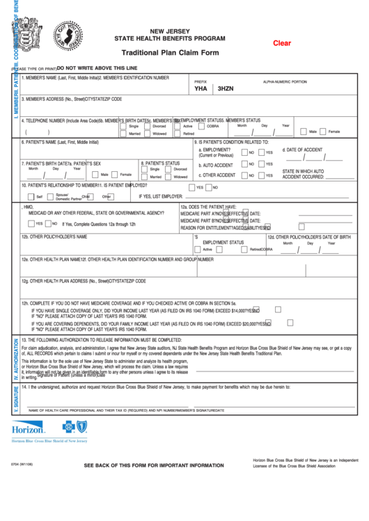 Fillable Form 0704 (W1106) - Traditional Plan Claim Form ...