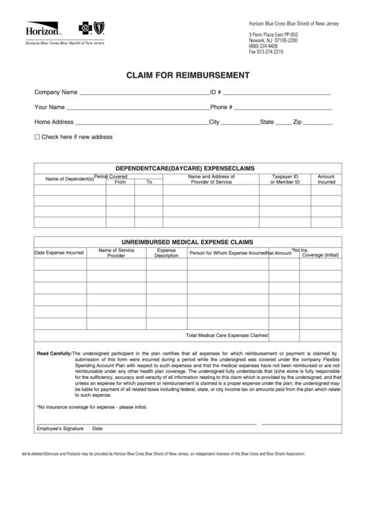Form 6518 (W0407) - Claim For Reimbursement - Horizon Blue ...