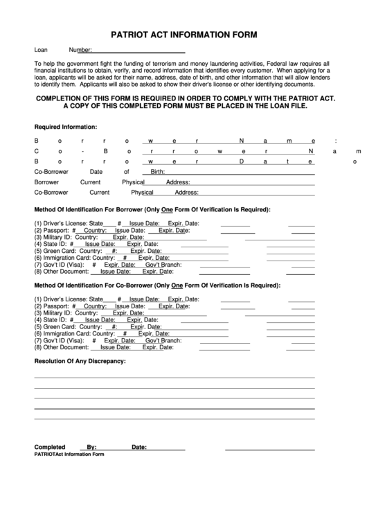 fillable patriot act information form printable pdf download