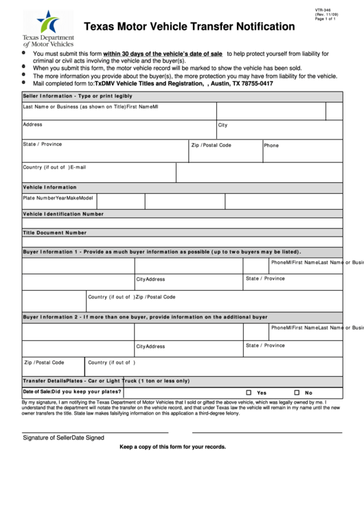 Form Vtr-346 - Texas Motor Vehicle Transfer Notification