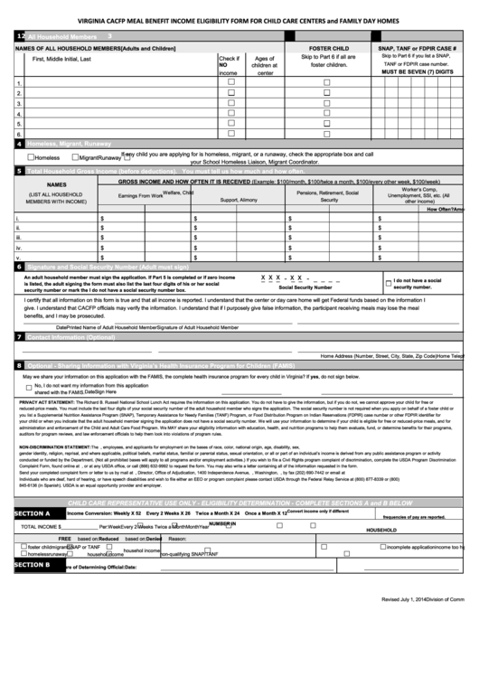 Virginia Cacfp Meal Benefit Income Eligibility Form For Child Care Centers And Family Day Homes Printable pdf