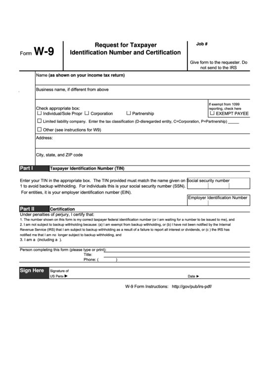 Fillable Form W 9 Short Request For Taxpayer Identification Number And Certification 2015