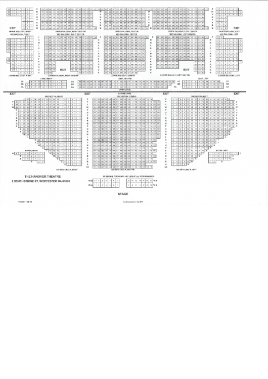 Hanover Theater Seating Chart Printable Pdf Download