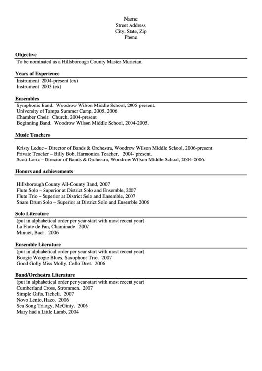 Sample Musician Resume Printable pdf